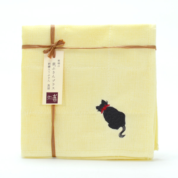 貓刺繡布巾 1