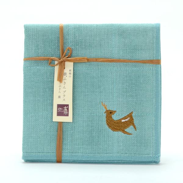 鹿刺繡布巾 - 青藍 1